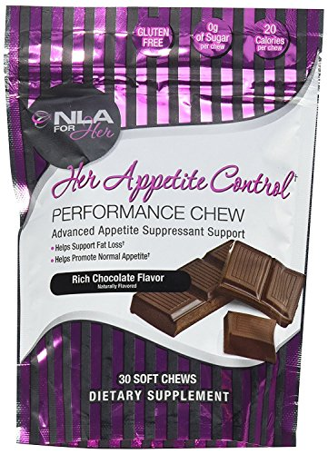 NLA for Her - Her Appetite Control Performance Chew - Advanced Appetite Suppressant Support - Supports Fat Loss & Promotes Normal Appetite - Rich Chocolate - 30 Soft Chews - Fiber Chews Chocolate