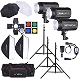 Andoer MD-250 750W (250W x 3) Studio Strobe Flash Light Kit with Light Stand Softbox Lambency Unbrella Barn Door Flash Trigger Carrying Bag for Video Shooting Location/Portrait Photography