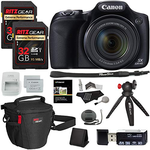 - Canon PowerShot SX530 HS Digital Camera + Ritz Gear 32GB U3 Memory Card + Tabletop Tripod + Ritz Gear Zoom Bag + Card Reader + Cleaning Kit + Screen Protector + Spare Battery