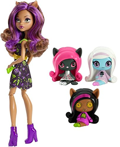Cutie Rag Doll Costumes (Monster High Minis Rag Doll Ghouls Clawdeen Wolf, Sparkling Candy Ghouls Abbey Bominable Original Ghouls Catty Noir Figures, 3 Pack PLUS Ghoul-La-La Locker Vehicle with Clawdeen Wolf Doll)