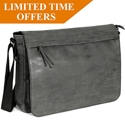 "Mens Laptop Messenger Bags 15.6"" Water Resistant Shoulder Bag Tocode PU Leather Canvas Satchel Crossbody Bags Brifecase Office Bag Large Computer Bag for Work College School Travel, Black (Canvas Leather Satchel)"