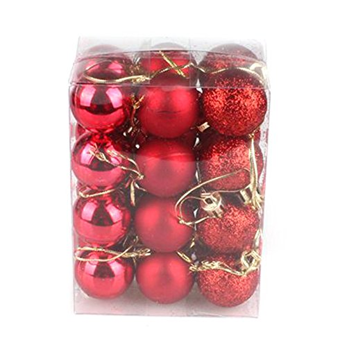 24PC Christmas Tree Ball Hanging Ornament Pure Color Glitter Baubles for Christmas Decoration Home Party Holiday Decor (Gold) Hjuns