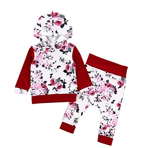 SUNTEAMO 2Pcs Newborn Baby Boys Girls Floral Print Hooded Tops Pullover Pants Outfits Set (White, 70) -