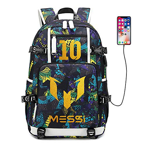 Soccer Player Star Lionel Messi Multifunction Backpack Travel Student Backpack Football Fans Bookbag for Men Women (Style 7)