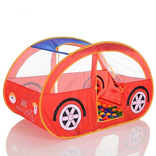 LCP KIDS Pop Up Spielzelt Auto als Kinder Spielhaus und Bällebad mit 100 bunten Bällen - Rot