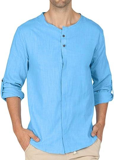 Camisas de Manga Larga para Hombre Color sólido Camisas Casual para Hombre Slim fit Camisa de Vestir Hombre Camisetas Hombre Manga Larga Cuello Redondo Camisa de Playa para Hombre: Amazon.es: Ropa y