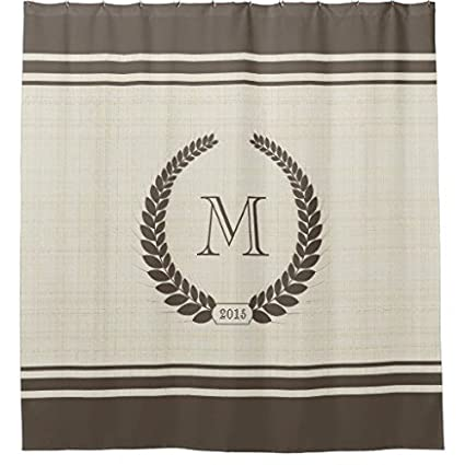 Neutral Linen And Cocoa Style Fancy Monogram Mildew Proof Waterproof Washable Printed Polyester Fabric