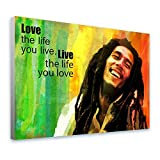 Alonline Art Bob Marley Jamaican Reggae Singer Quote by Alonline DSN | Framed Stretched Canvas on a Ready to Hang Frame - 100% Cotton - Gallery Wrapped | 39''x29'' - 98x74cm Framed Print