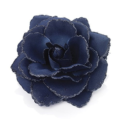 Large Navy Blue Glitter Edge Rose Flower Hair Elastic Band and Beak Clip Fascinator by Pritties Accessories