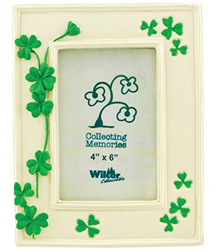 (Green Clover Leaf Leaves Flower Collectible Photo Picture Frame, 4x6, St Patrick's Irish, Standing Table Top)