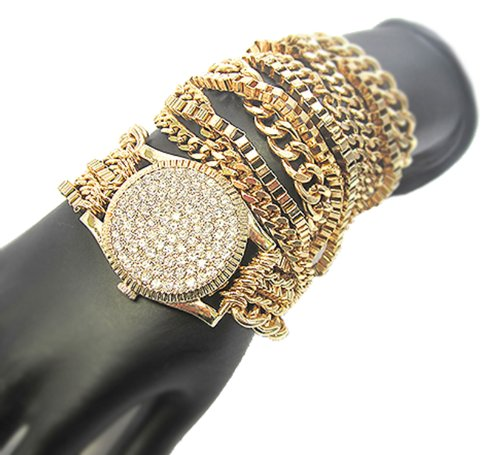 Goldtone w/ Clear Simulated Wrist Watch Inspired Style Adjustable Assorted Chain Bracelet (F-1048)