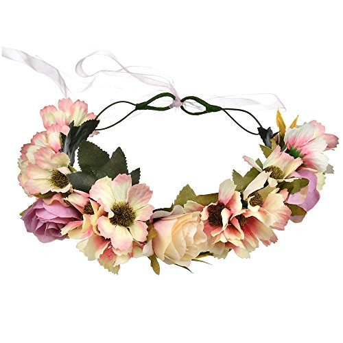 Hawaiian Floral Bands - Vivivalue Handmade Flower Headband Hair Wreath Halo Floral Garland Crown Headpiece with Ribbon Boho Festival Wedding Pink