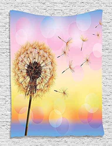 asddcdfdd Dorm Tapestry, Dandelion Floral Rainbow Colors Colorful Sunset Sky Theme Digital Printed Tapestry Wall Hanging Wall Tapestry Living Room Bedroom Dorm Decor, Blue Pink Yellow ()