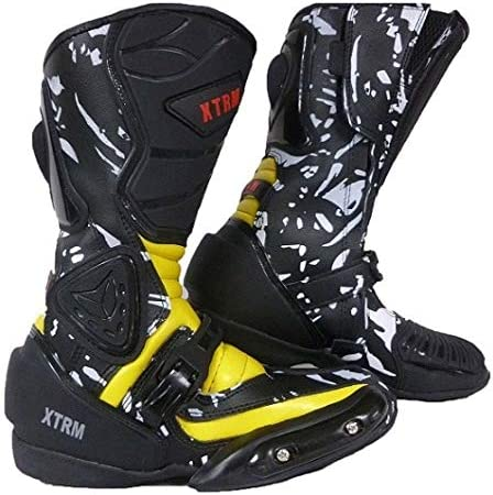 XTRM Kids Motorbike Boots Adventure Motorcycle Racing Junior On Road Quad Bike ATV Heavy Duty Sports Race Boots for Children