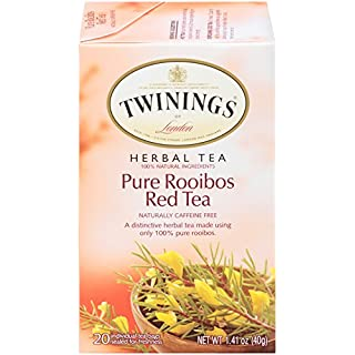 Twinings of London Pure Rooibos Herbal Red Tea Bags, 20 Count (Pack of 6)