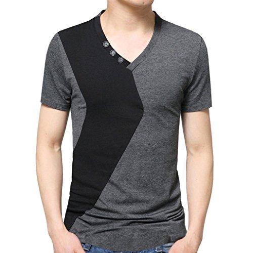 Realdo Mens Splice Solid T-Shirt, Mens Fashion V Neck Button Decoration Short Sleeve Tee(Grey,XXX-Large) -