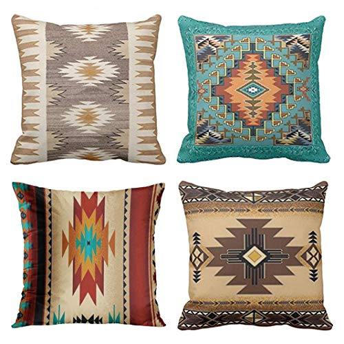 Emvency Set of 4 Throw Pillow Covers Tribal Western Geometric Colorful Nature Color Patterns Sw Turq Orange Decorative Pillow Cases Home Decor Square 16x16 Inches Pillowcases (Western Covers Couch)