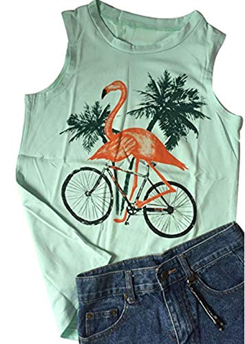 - Let's Get Flocked up Tshirt Funny Flamingo Bird Tank Top Shirt Casual (Large, Green)