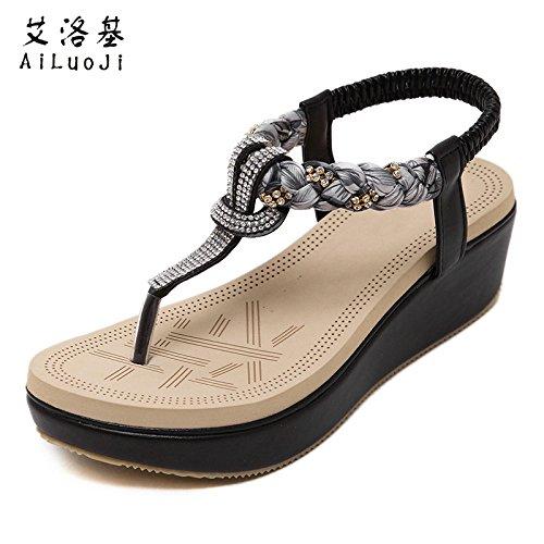 Wedges sandales étudiante été 2017 nouveau strass sauvage simple bohème folk style plage chaussures fond mou j46pMYyP