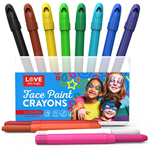 Face Paint Kit for Kids with 12 Non Toxic Color Sticks. Best Quality Body Painting Set +18 BONUS Stencils & E-book. Easy to Apply, Long Lasting, Water-Based Twist Up Crayons. Ideal gift or ()