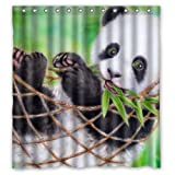 Cute Baby Panda Eat Bamboo Funny Bear Animal Art Design Mildew Proof Polyester Fabric Shower Curtain with Rings 66