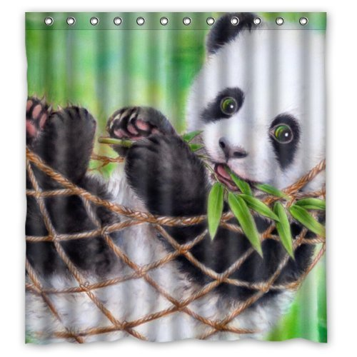 Bamboo Funny Bear Animal Art Design Mildew Proof Polyester Fabric Shower Curtain with Rings 66 ()