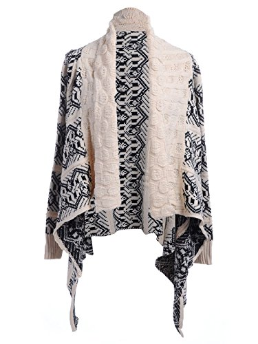 Anna-K S/M Fit Beige & Black Jagged Pattern Pointed Hem Shawl Collar Cardigan