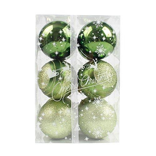 (Bokeley Christmas Ball Ornaments Shatterproof Christmas Decorations Tree Balls Small for Holiday Wedding Party Decoration, Tree Ornaments 12CM (Green,)