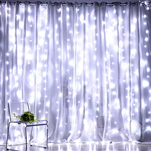 Fiee Fairy Curtain Lights,304 LED 9.8ftX9.8ft 30V 8Modes safety Window Lights with Memory for Home Wedding Christmas Party Family Patio Lawn Garden Bedroom Outdoor Indoor Wall Decorations(Cool White) (Curtain Icicle Lights)