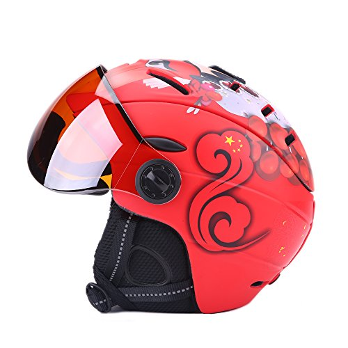 (UNISTRENGH Ski Snowboard Helmet Backline Visor Helmets for Winter Snow Sports with Attached Detachable Photochromatic Polarizing Goggles (Red, L(58-61)