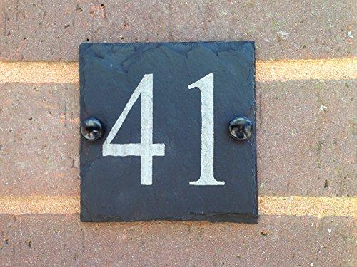 ürschild Schiefertafel, für Hausnummer Hausnummernschild Hausnummer, klein, 10 x 10 cm