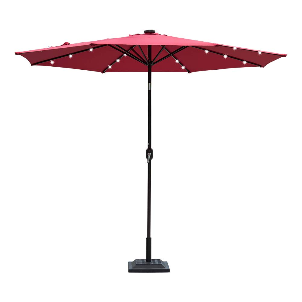 Sundale Outdoor 10 ft Solar Powered 24 LED Lighted Patio Umbrella Table Market Umbrella with Crank and Push Button Tilt for Garden, Deck, Backyard, Pool, 8 Steel Ribs (Red)