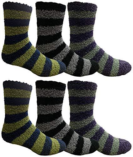 Yacht & Smith Mens Fuzzy Socks, Soft Warm Winter Slipper Plush Sock (Striped)