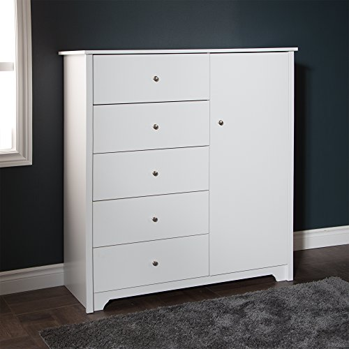 South Shore Vito Door Chest with 5 Drawers and Adjustable Shelves, Pure White