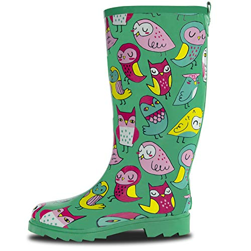 LONECONE Women's Patterned Mid-Calf Rain Boots, Hoot-y Boots, 7