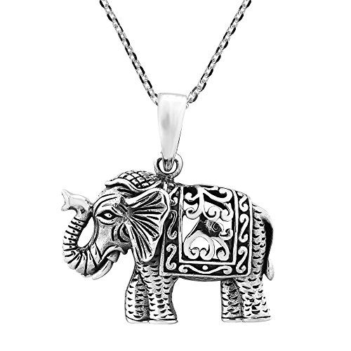 AeraVida Intricately Detailed Regal and Majestic Elephant .925 Sterling Silver Pendant Necklace