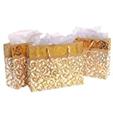 Gold Foil Party Gift Bags and Tissues - Floral Arabesque Design - 3 Pack