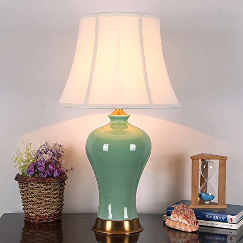 ETERN Chinese ceramics table lamp 36 64cm living room bedroom high-end pure copper lamps ( Color : Lampshade-C ) by ETERN Table Lamp