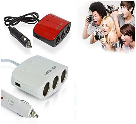 Boomboost 3ウェイデュアル USB 車 ライター 電源 ソケット 充電器 セパレータ タバコライター アダプター 電圧 赤