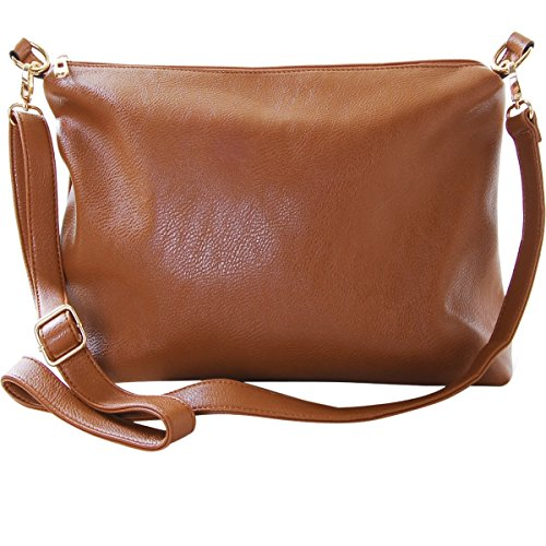 Humble Chic Crossbody Bag - Vegan Leather Satchel Messenger Handbag Shoulder Purse, Saddle Brown, Camel, Tan, Cognac, Walnut