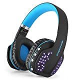 Beexcellent Bluetooth Headphones Wireless Foldable Noise Cancelling Over-ear Headset with Microphone LED Light for Smartlife Laptop Computer(Q2 Blue)