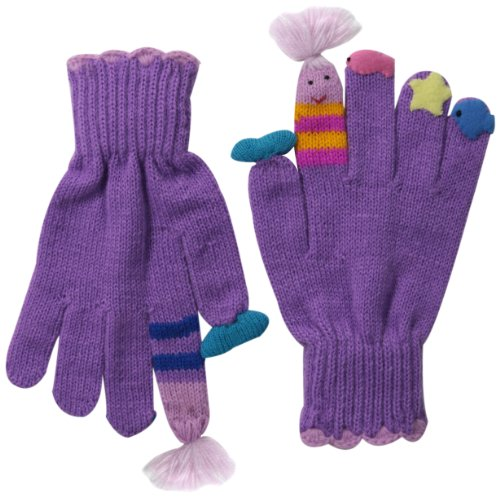 Kidorable Purple Mermaid Soft Acrylic Knit Gloves for Girls w/Fun Stars and Fish