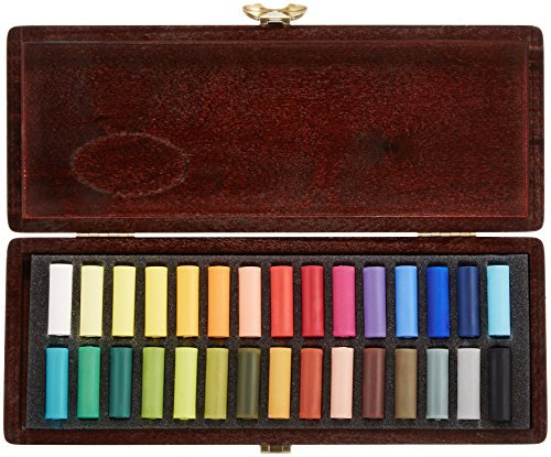 Royal Talens Rembrandt Artists' Soft Pastels, Wood Box Set of 30 Half Pastels, Assorted Colors (31814115)