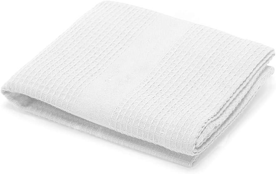 Kutex Lot de 2 serviettes de sauna en piqu/é 113 x 150 cm Blanc nid dabeille