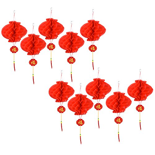 Kloud City 10 Chinese Traditional Decorative Red Lantern Hanging Ornament With Tassel for Wedding New Lunar Year Chinese Spring Festival (Tassel Hanging Ornament)