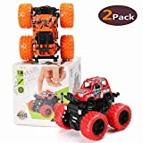 BBLIKE Monster Truck Toys 2-Packs Toy 4WD RC Truck Four-Wheel Drive Inertia Car Toys, Friction Powered Cars Push Go Truck and Car Party Favors for Toddlers Boys Age 2-5 Year Toddler