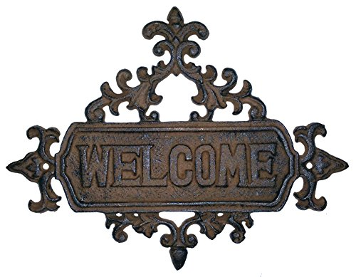 Charming Scrolled Fleur De Lis Welcome Plaque - Brushed Brown Antique Finish - Welcome Plaque