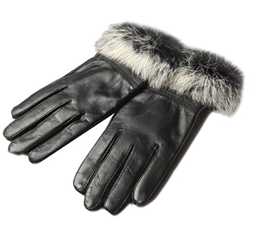 Liveinu Women's Leather Gloves Autumn Winter Warm Rabbit Fur Gloves Black One Size