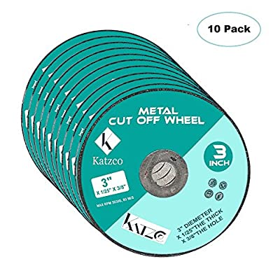 """Cut Off Wheels- For Cutting Metal and Steel -3 Inch 60 Grit, To Use With Angle Grinders - 3"""" X 1/25"""" X 3/8"""" Max RPM 20300, 80 M/S-10 Pack -By Katzco"""