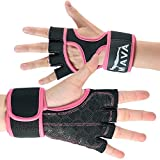 Cross Training Gloves with Wrist Support for Gym Workouts, WOD, Weightlifting & Fitness– Silicone Padded Workout Hand Grips Against Calluses with Integrated Wrist Wraps by Mava (Pink, Small)